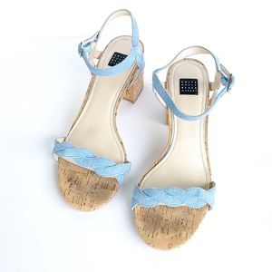 White House black market • denim blue block heels